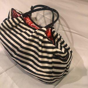DSW large satin black & white striped duffel bag